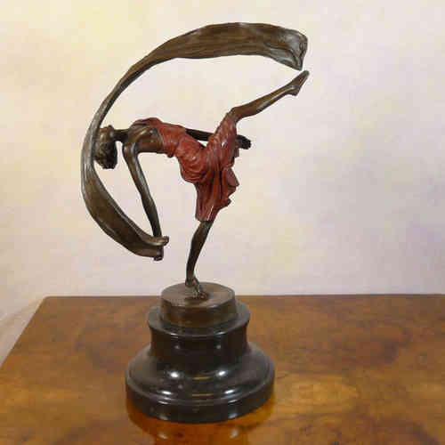 Bronze sculpture of a dancer art deco