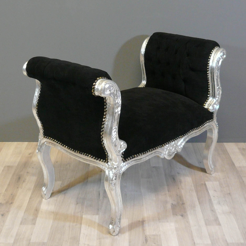 Banquette baroque noire chaise baroque pouf baroque - Meuble baroque noir ...