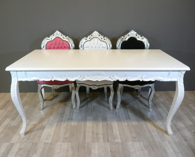 Table baroque blanche meuble baroque - Table de chevet baroque blanche ...