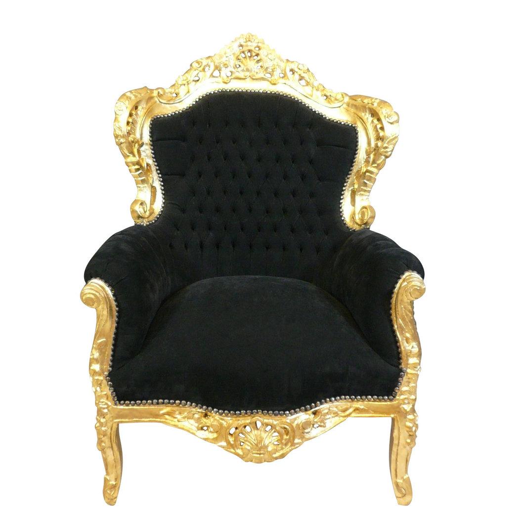 fauteuil baroque noir et dor chaise baroque. Black Bedroom Furniture Sets. Home Design Ideas