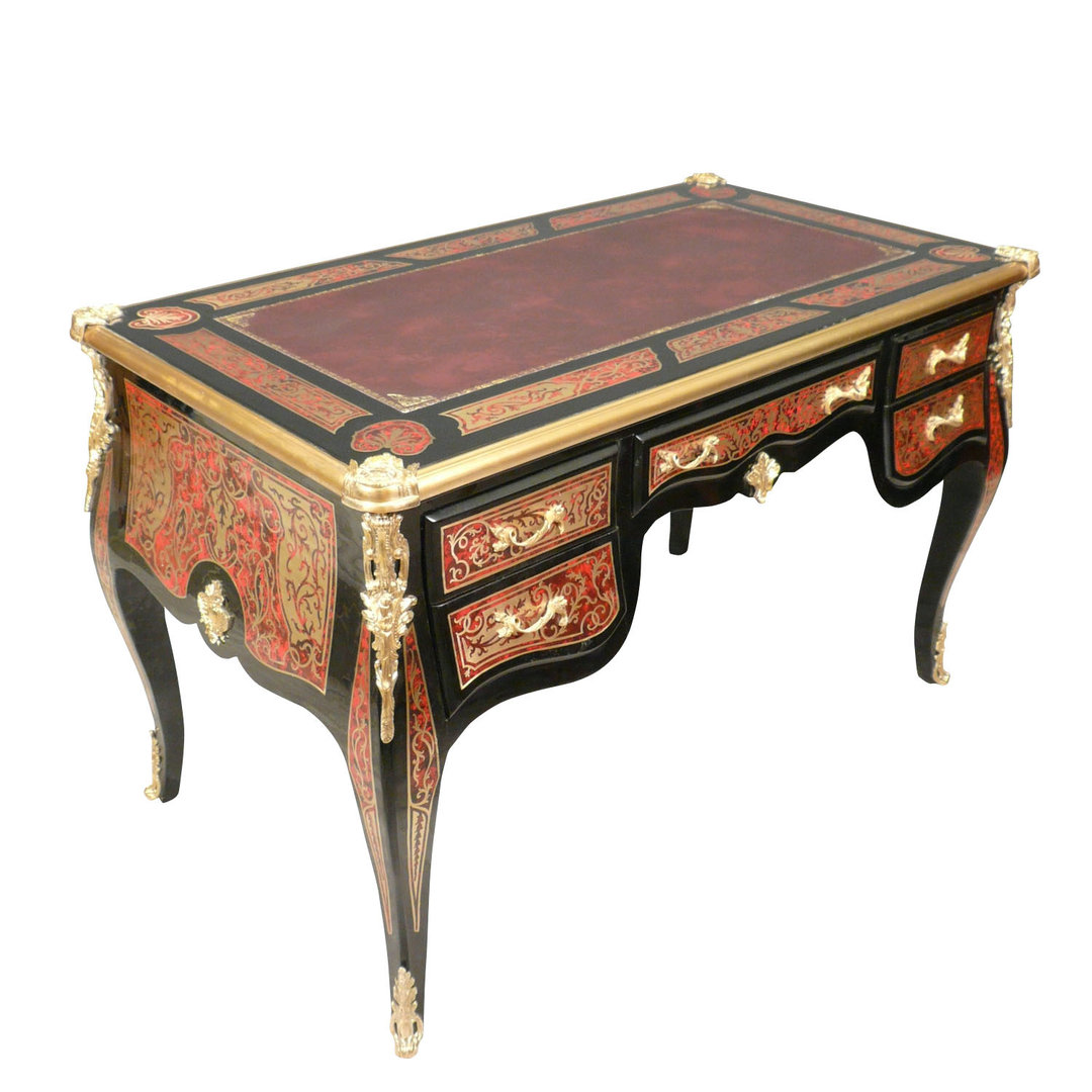 Louis xv desk in marquetry boulle tiffany lamps bronze for Bureau louis xv