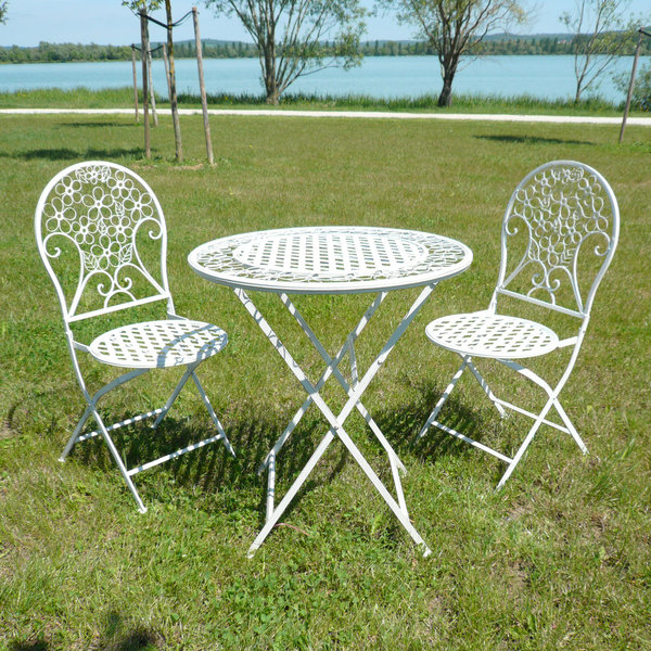 Salon de jardin en fer forg tables chaises bancs for Couleur salon de jardin en fer