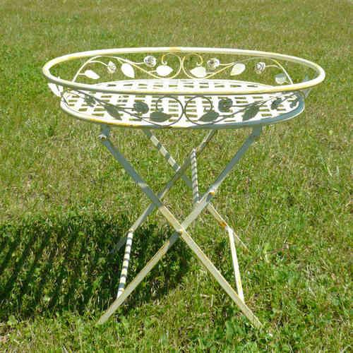 Fer forg salon de jardin en fer forg chaise table for Porte plante en fer forge