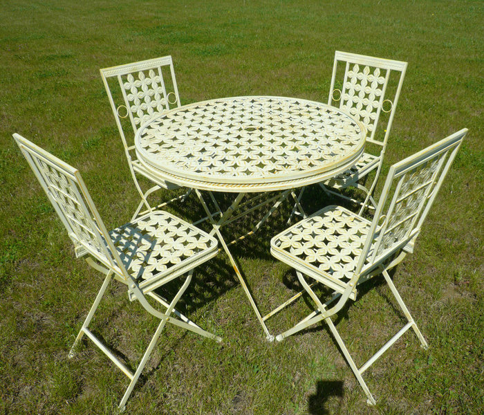Wrought iron garden furniture tables chairs benches for Table jardin fer forge occasion