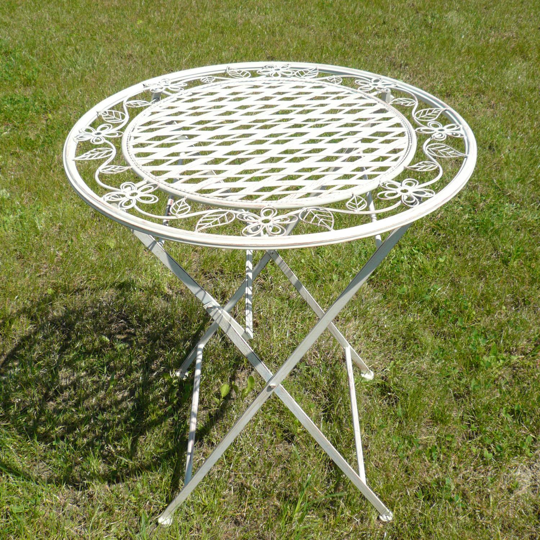 Table de salon de jardin en fer forg chaises bancs - Salon de jardin romantique blanc ...