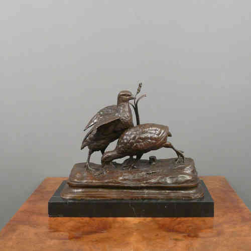 Bronze Sculpture - The two partridges