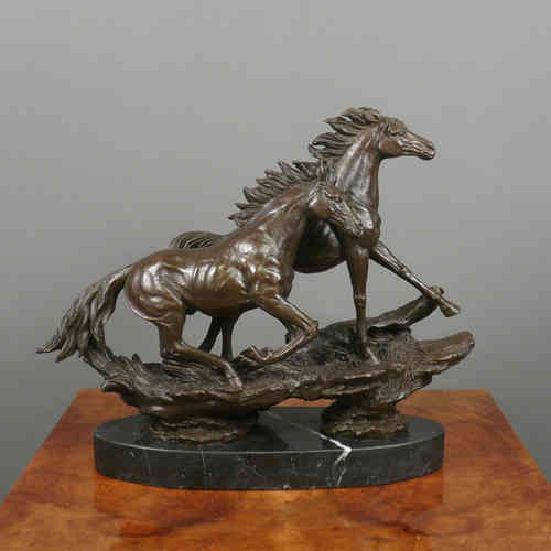 Chevaux au galop - Sculpture en bronze