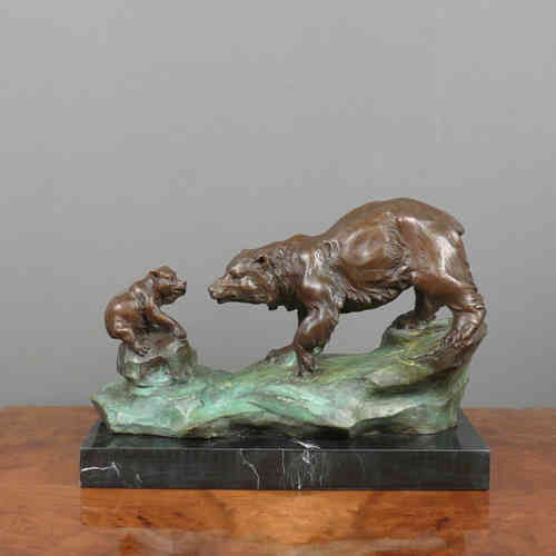 Sculpture en bronze - L'ours et son ourson