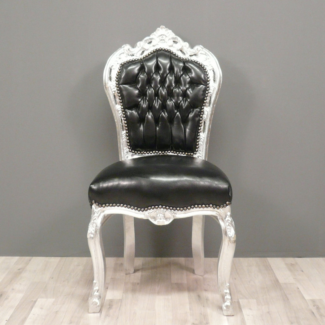Baroque black and silver chair in pvc fabric armchairs - Chaise baroque ...