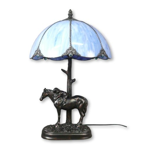 Tiffany Lamp with a Horse Statue