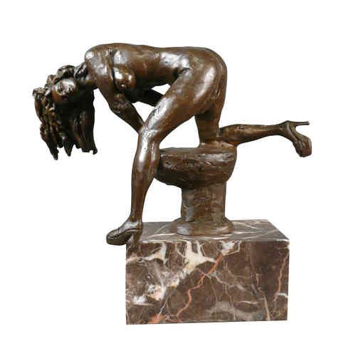 The woman at the anvil - erotic bronze statue