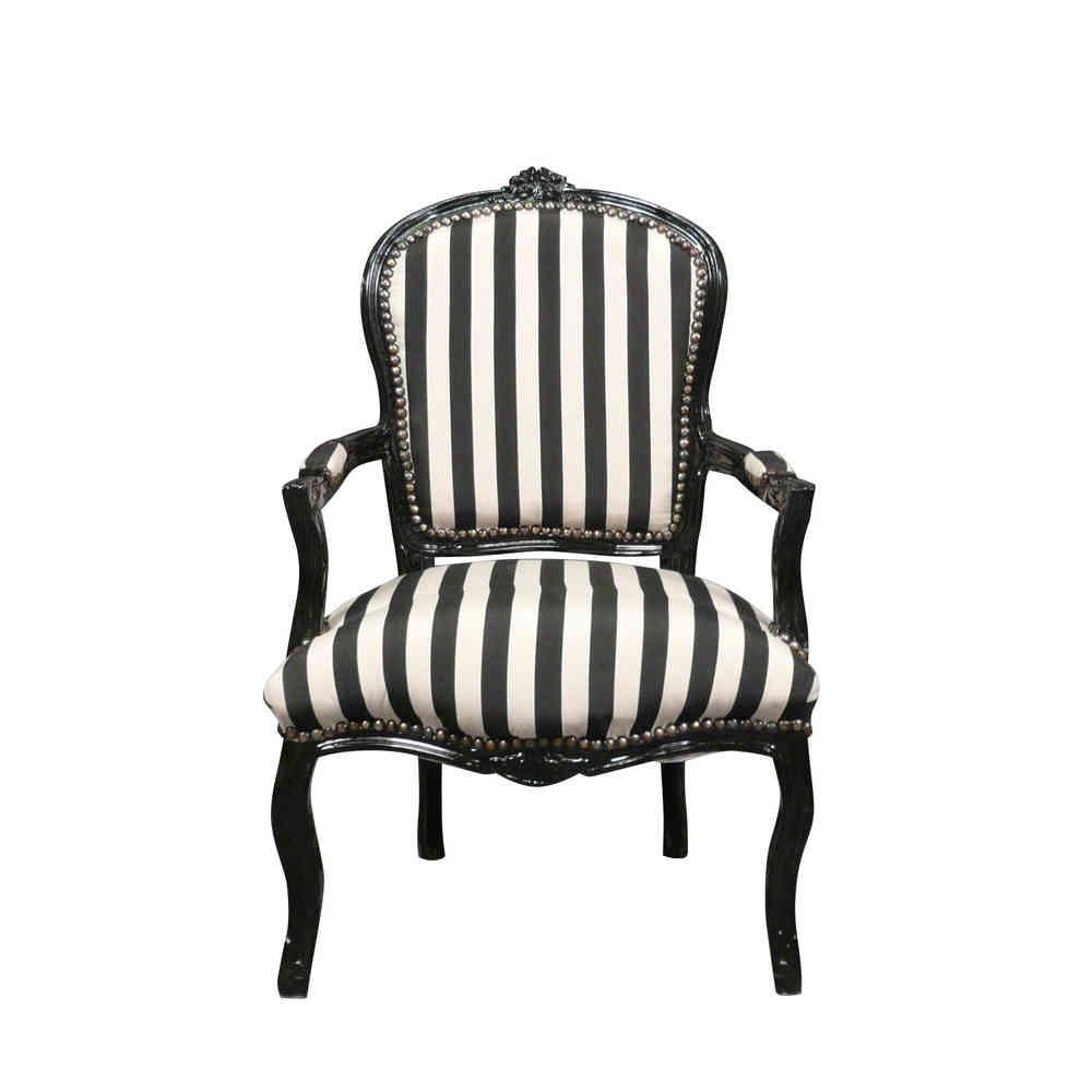 Fauteuil Louis XV tissu noir et blanc - chaises et meubles de style