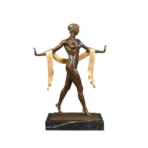 Statua in bronzo art deco marrone e oro