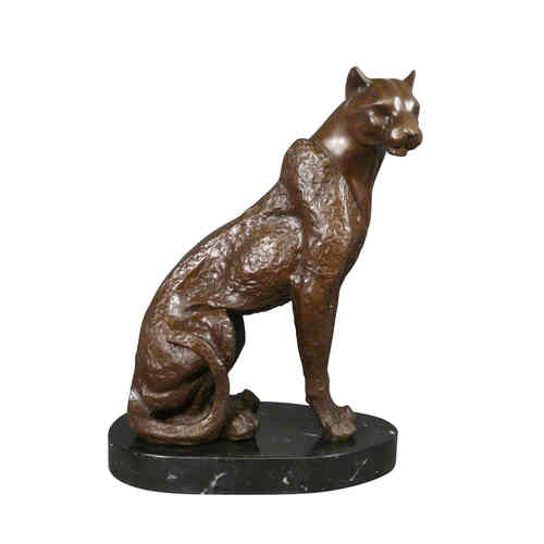Bronze sculpture of a seated panther