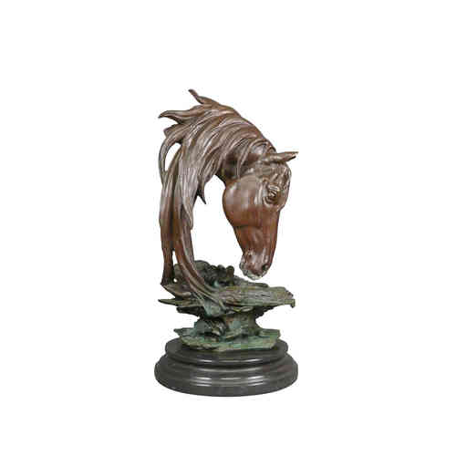 Bronze sculpture bust of a horse