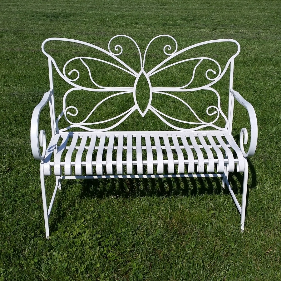 Banc de jardin en fer forg papillon table chaise for Banc de jardin en fer forge