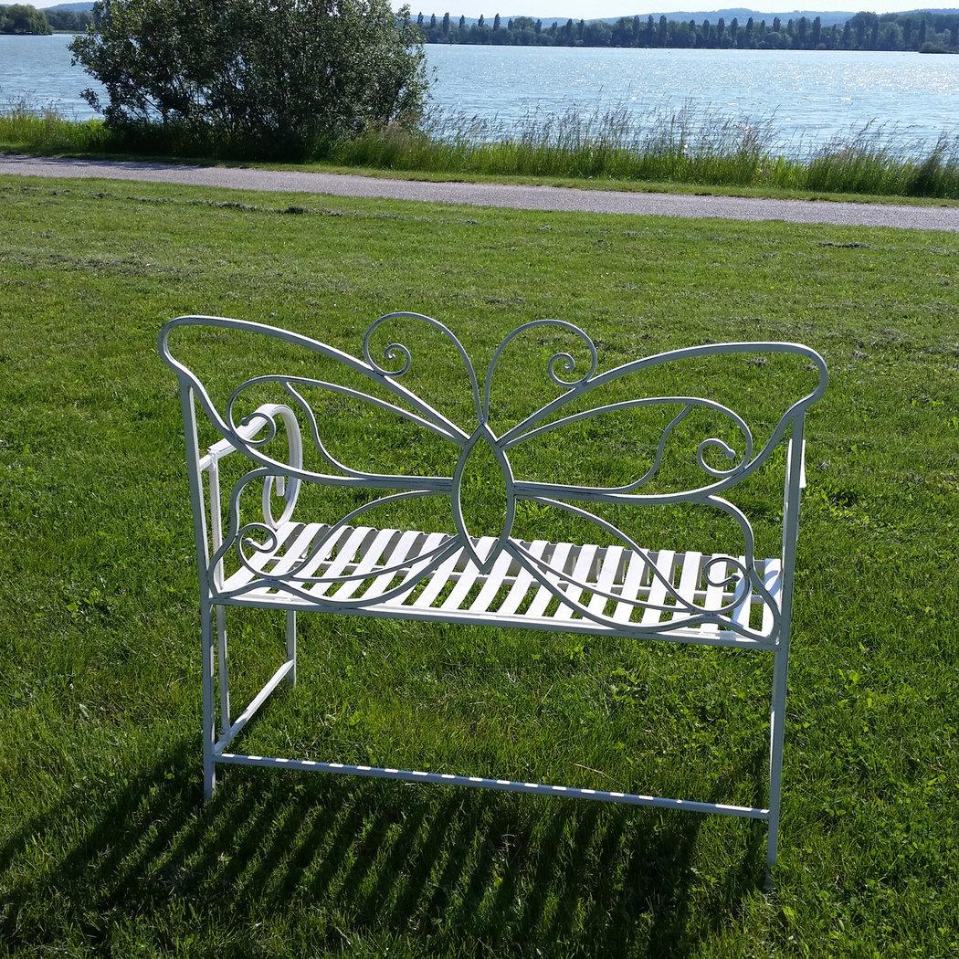 Banc de jardin en fer forg papillon table chaise - Banc de jardin fer forge ...