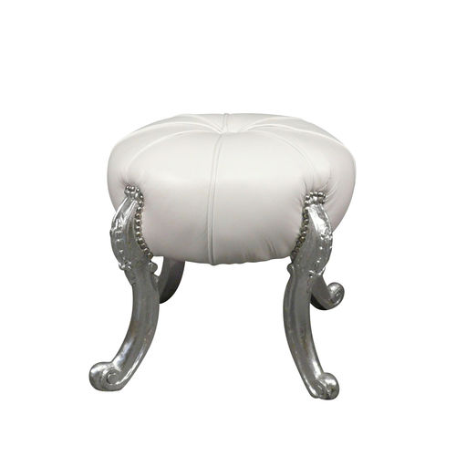 Baroque white silver wood pouf