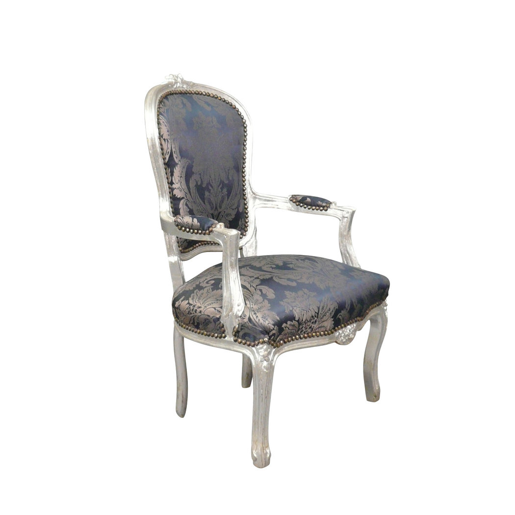 fauteuil louis xv bleu et argent chaise baroque. Black Bedroom Furniture Sets. Home Design Ideas