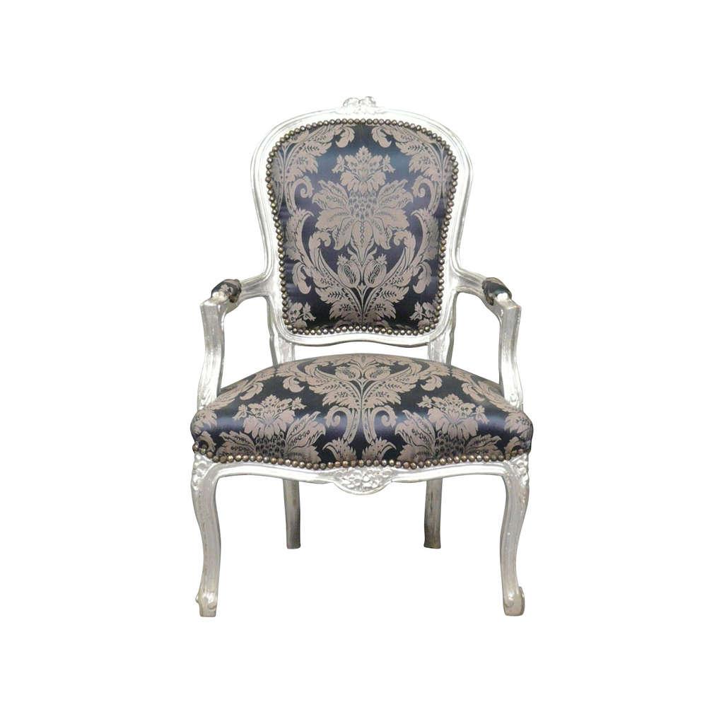 Argent Baroque Louis Xv Chaise Et Fauteuil Bleu IW29HDE