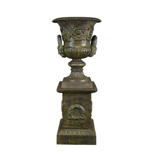 Medicis vase in cast iron with a pedestal green