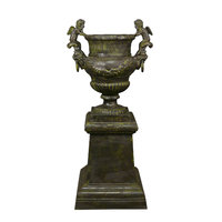Cast iron urn Medicis with base
