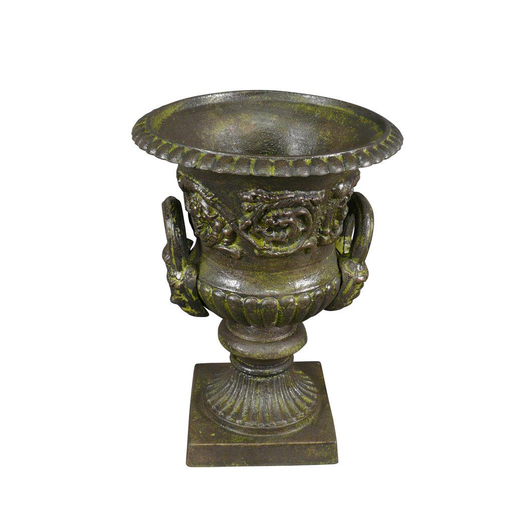 Vase Médicis en fonte de fer avec des anses - Vasque de jardin