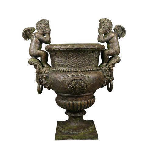 Cast iron urn with cherubs