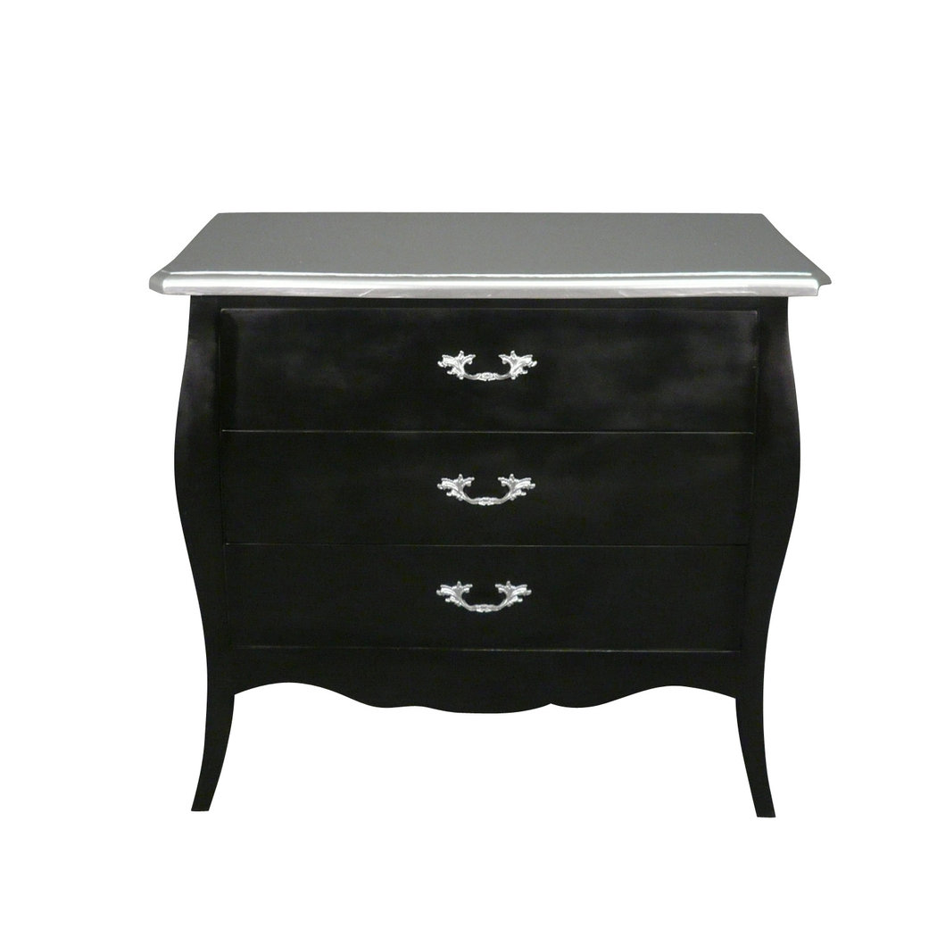 commode baroque noire et argent commode louis xv. Black Bedroom Furniture Sets. Home Design Ideas