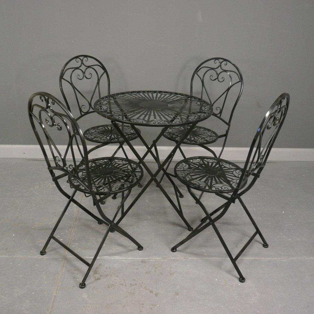 Salon de jardin en fer forg noir table chaise banc - Salon de jardin en fer ...