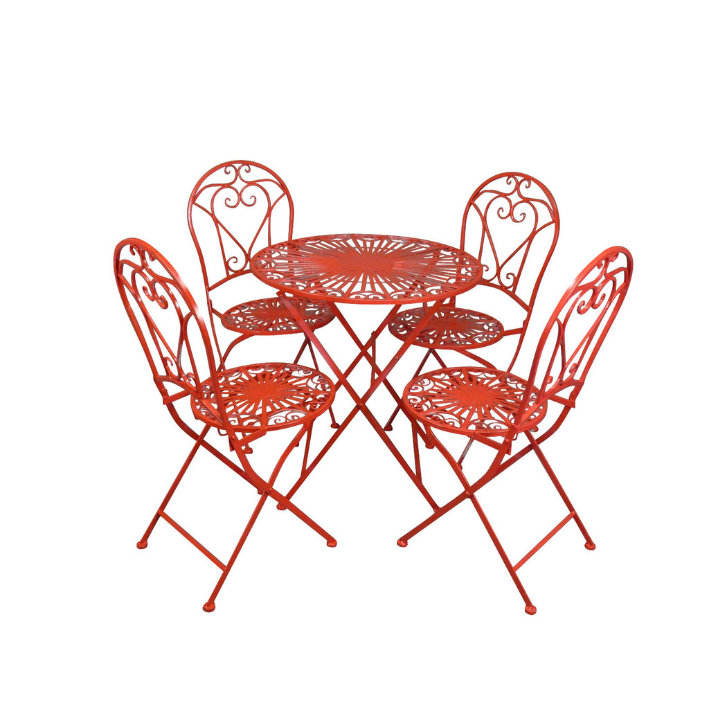 Salon de jardin en fer forg rouge table chaise banc - Salon de jardin en fer ...
