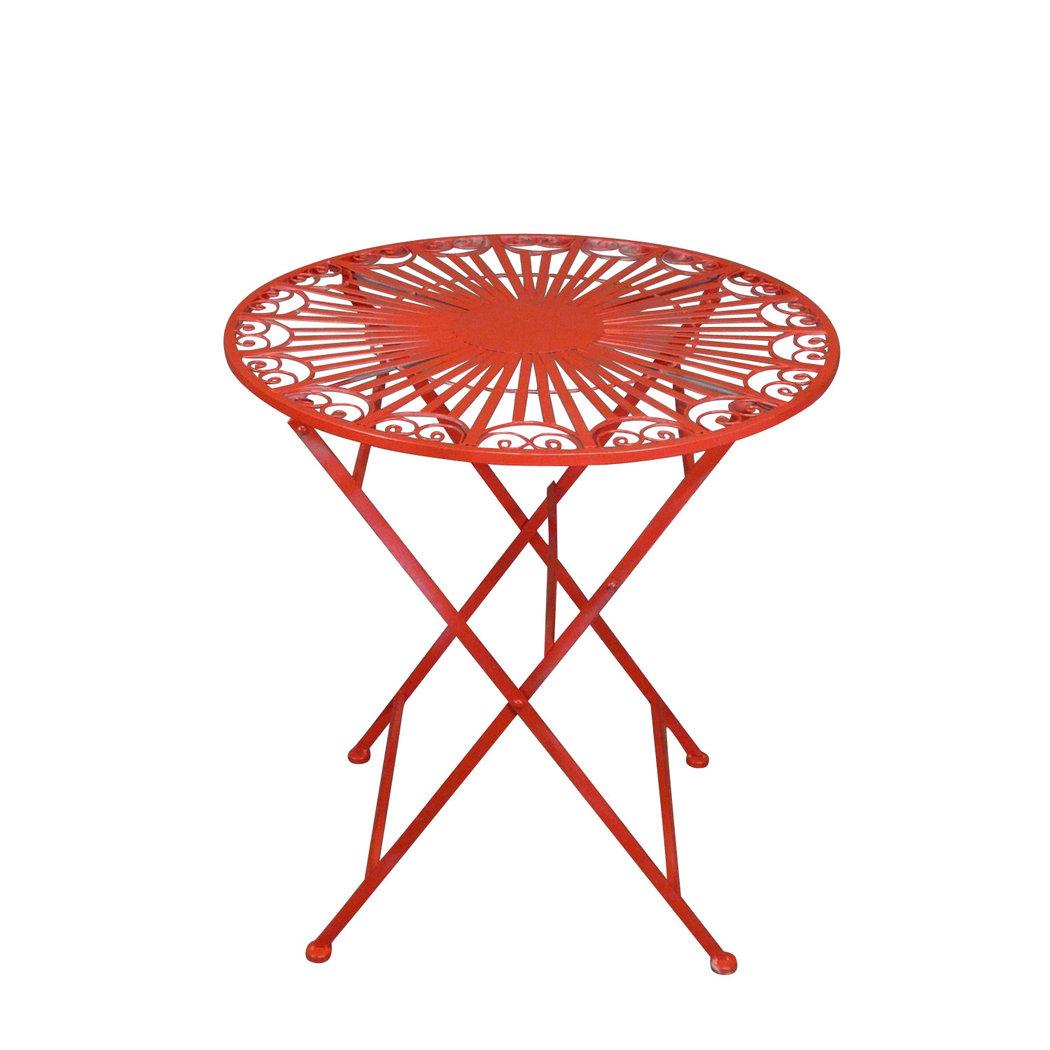 Salon de jardin en fer forgé rouge - Table - Chaise - Banc
