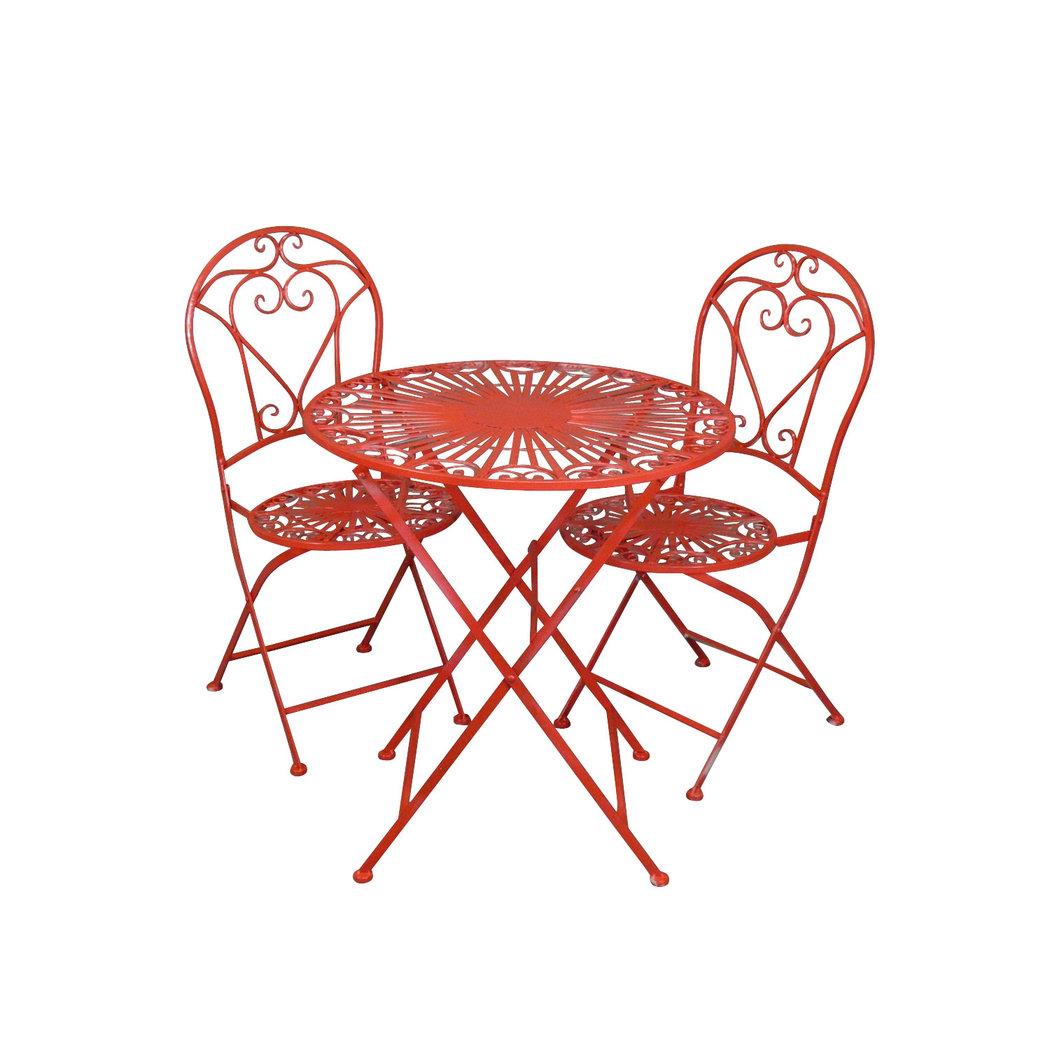 salon de jardin en fer forg rouge avec deux chaises. Black Bedroom Furniture Sets. Home Design Ideas
