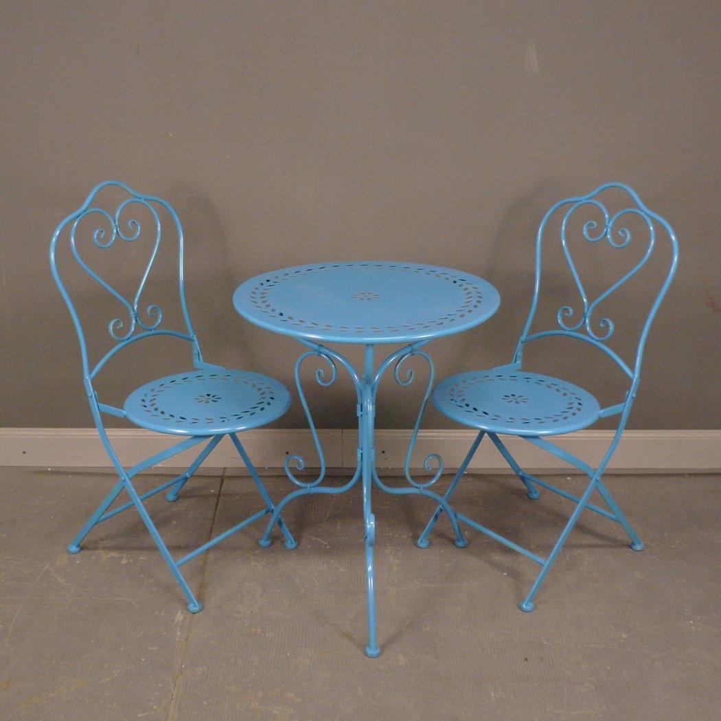 Salon de jardin en fer forg mobilier de jardin bleu for Salon de jardin en fer forge