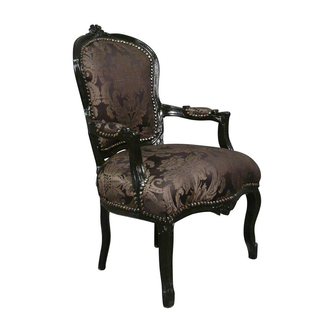 fauteuil louis xv noir rococo meuble baroque. Black Bedroom Furniture Sets. Home Design Ideas