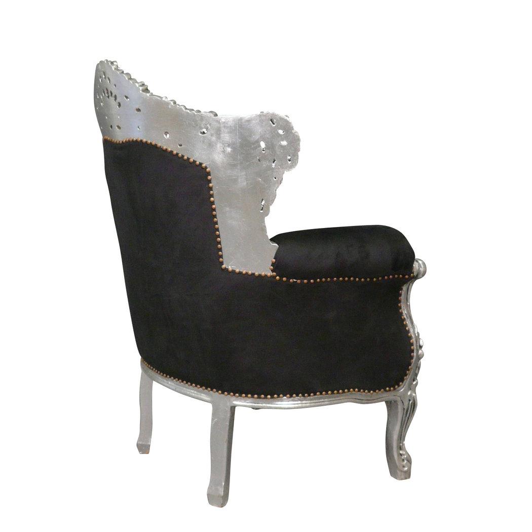 fauteuil baroque noir en velours et argent meubles baroques. Black Bedroom Furniture Sets. Home Design Ideas