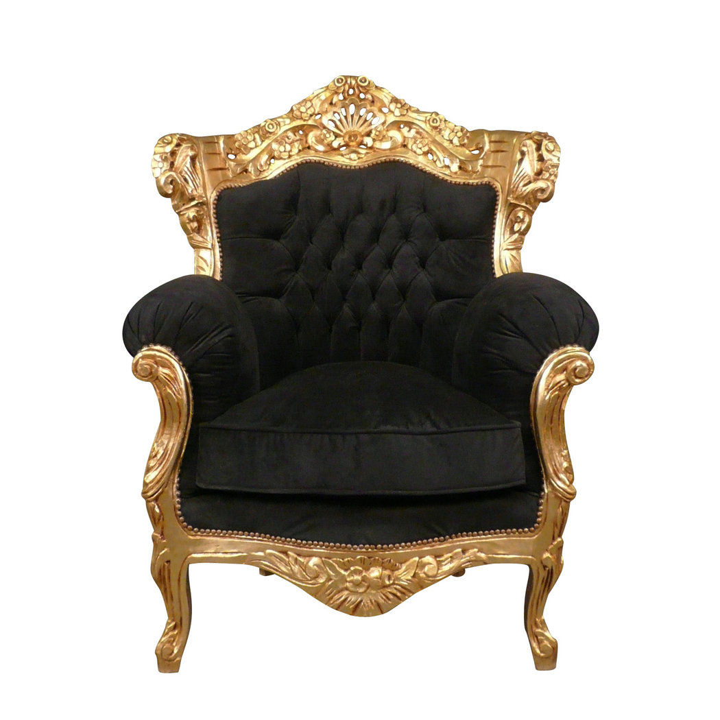 fauteuil baroque noir en velours et bois dor meubles. Black Bedroom Furniture Sets. Home Design Ideas