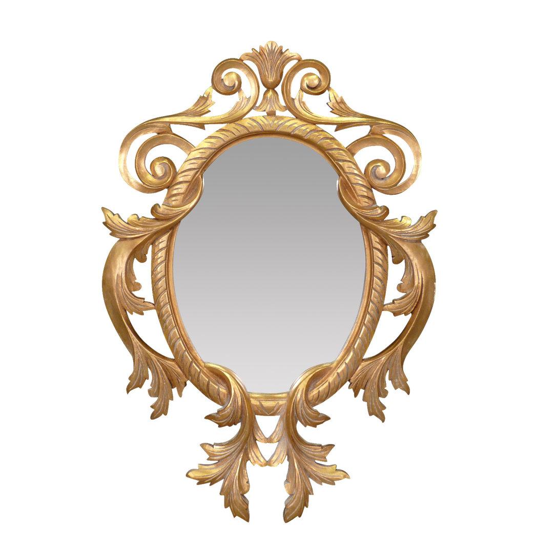 Miroir baroque louis xv en bois dor fleurs de lys for Miroir baroque dore