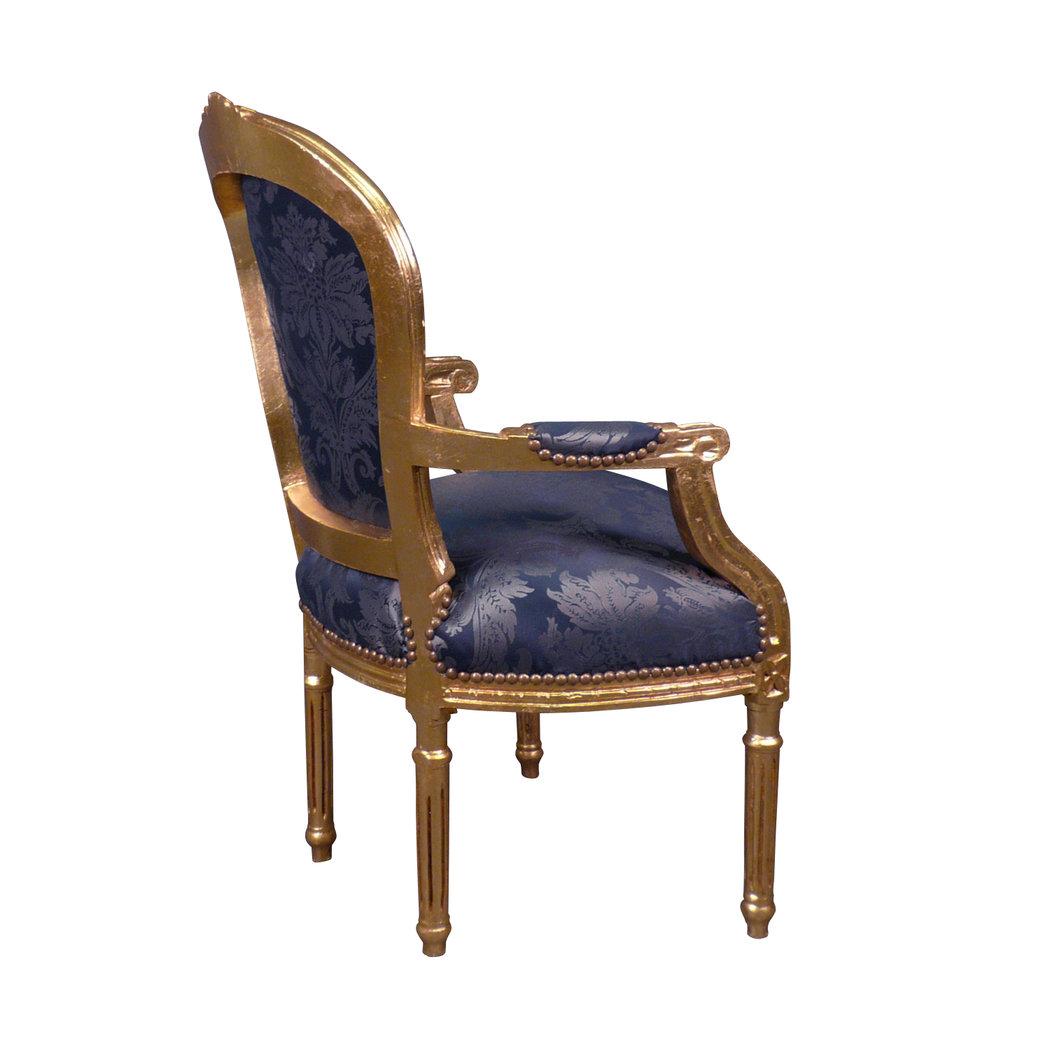 Fauteuil Louis XVI Bleu Rococo Meuble Louis XV - Fauteuil louis xvi