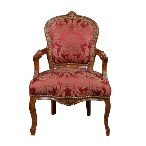 Louis XV armchair red in wooden