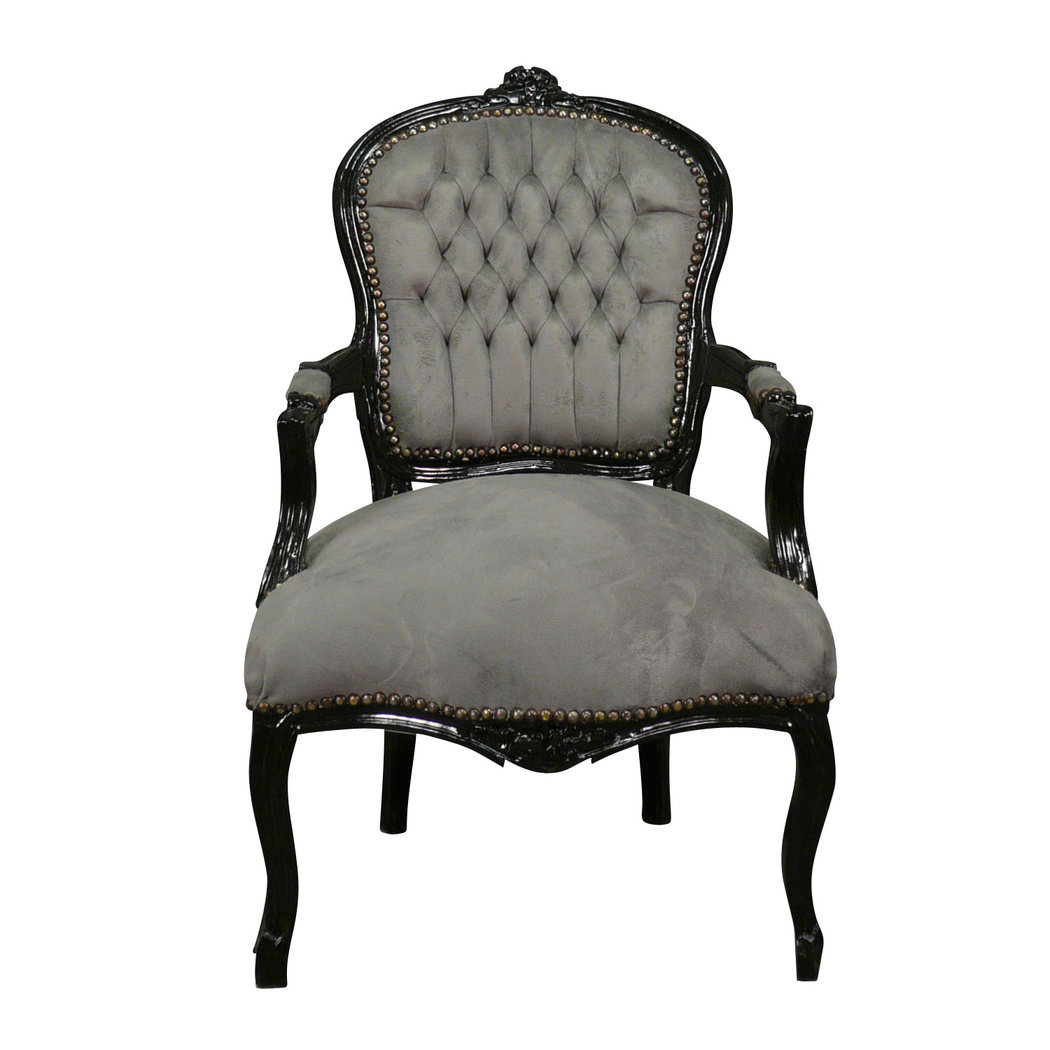 louis xv sessel schwarz und grau louis xv m bel. Black Bedroom Furniture Sets. Home Design Ideas