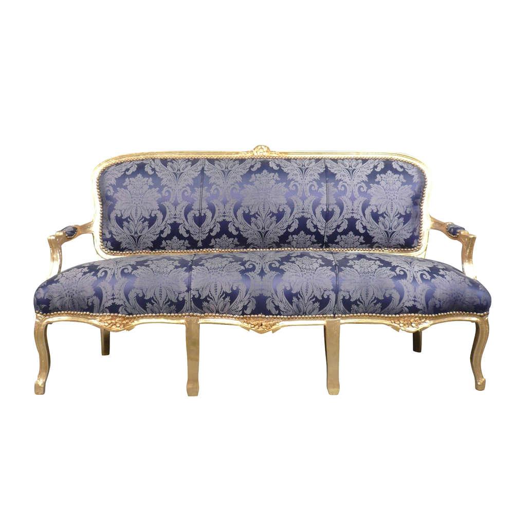 Divano Luigi XV rococo blu - mobili Luigi 15