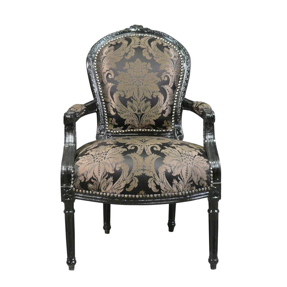 Poltrona Luigi XVI rococò nero - mobili e sedie Louis 16