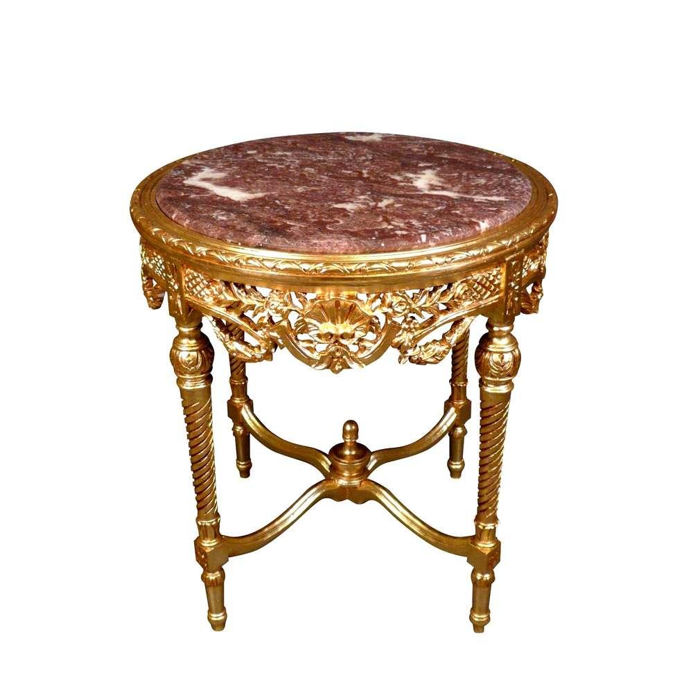 mesa redonda barroco dorado de madera