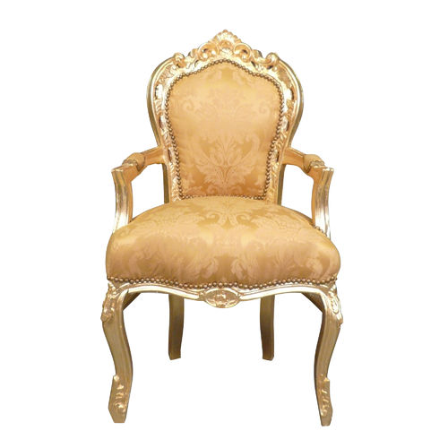 Baroque armchair in gilt satin fabric