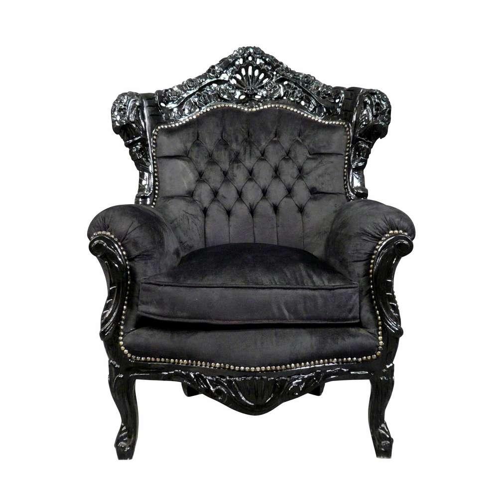 Poltrona Barocco nera di velluto - Mobili in stile barocco