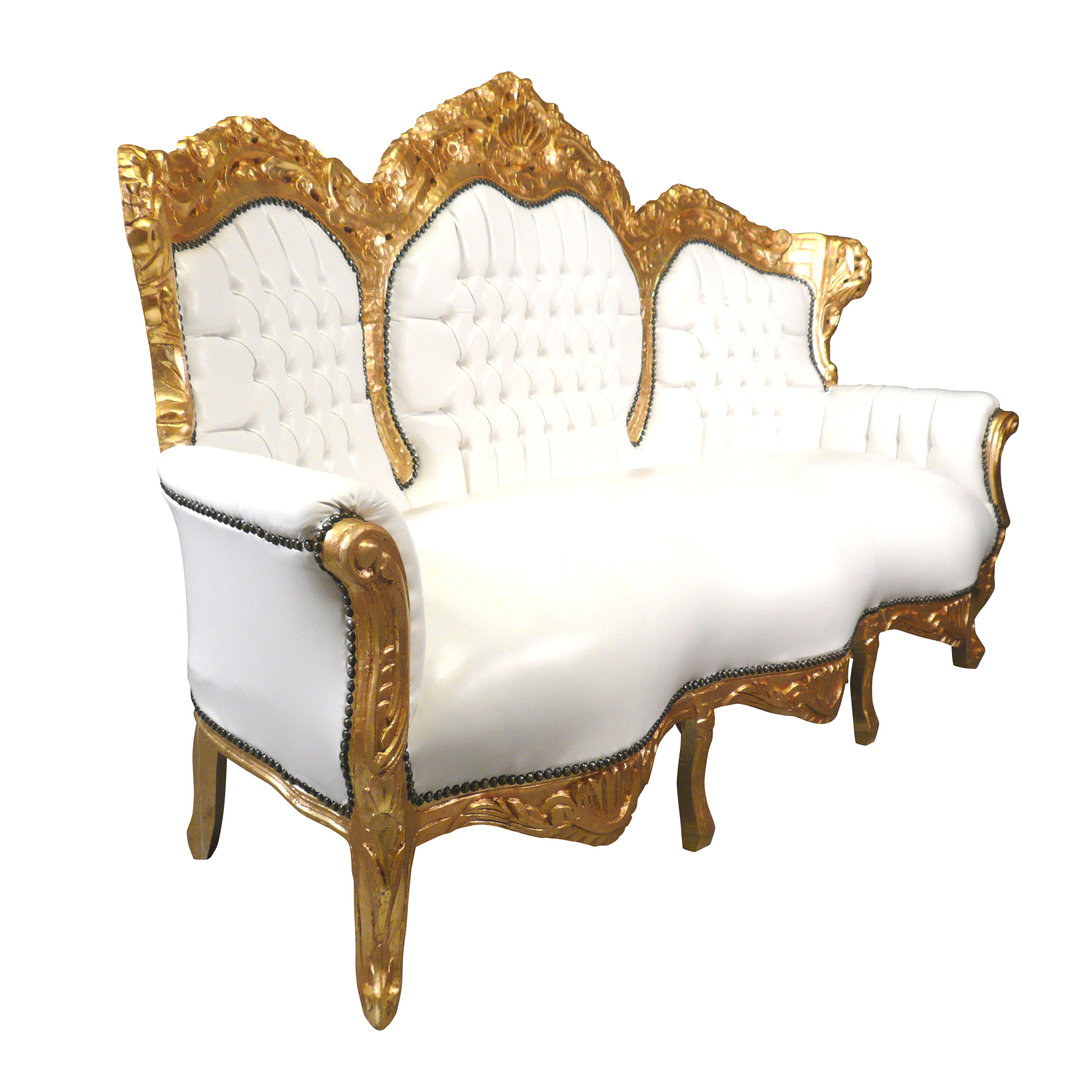 White and golden baroque sofa baroque furniture for Suspension baroque