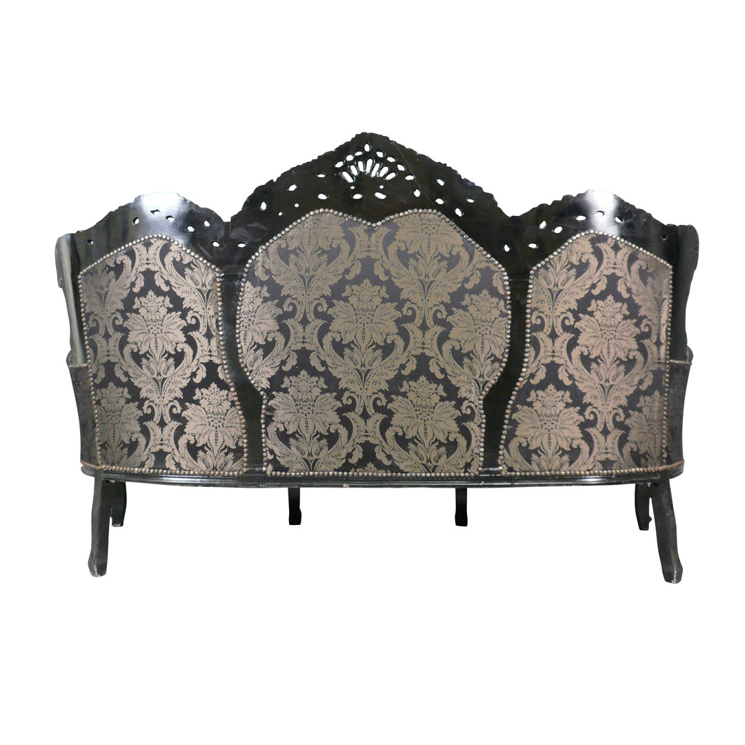 canap baroque 3 places noir meuble rococo. Black Bedroom Furniture Sets. Home Design Ideas