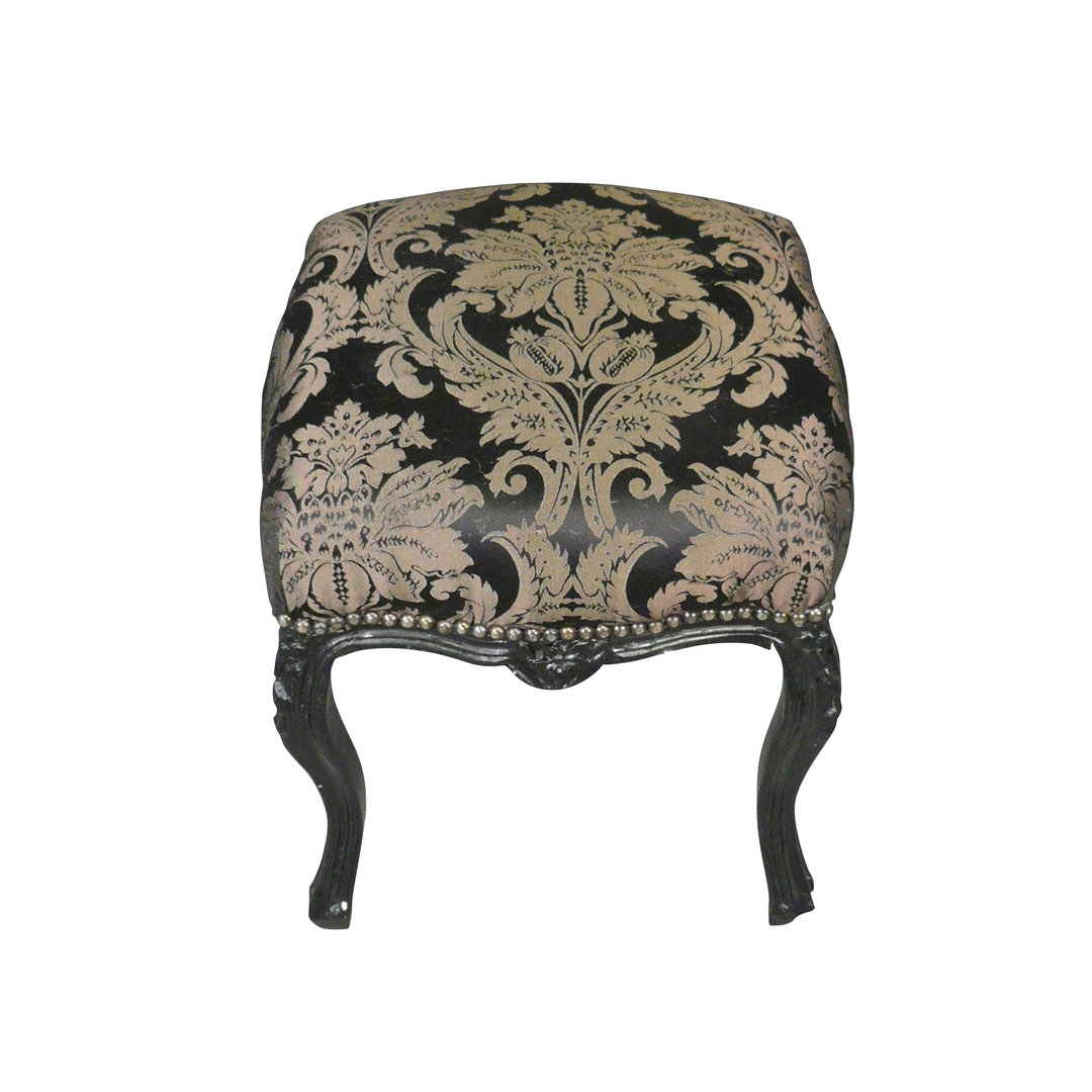 pouf baroque noir tissu rococo meubles baroques. Black Bedroom Furniture Sets. Home Design Ideas