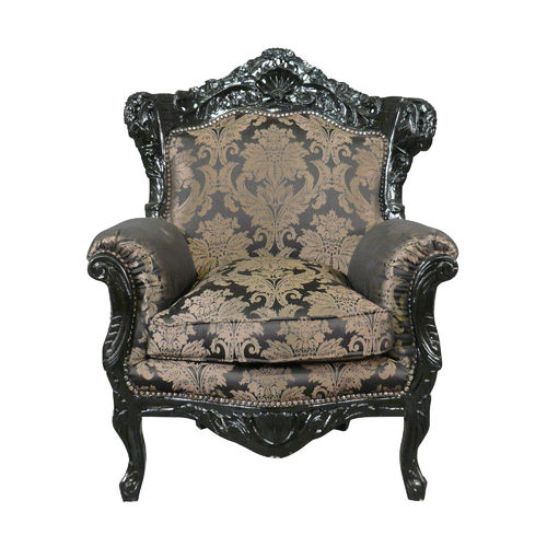 Black wooden baroque armchair